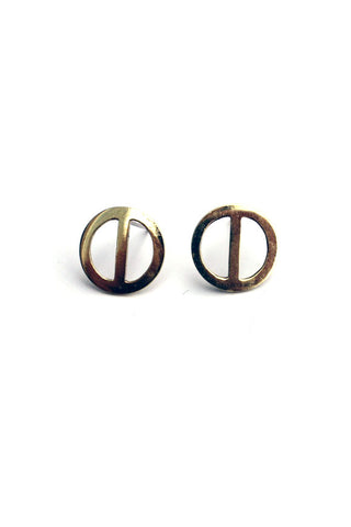 Open Circle Bronze Stud Earrings