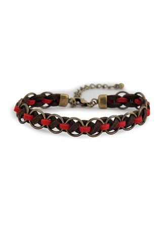 Handmade Ravon Bracelet Red Brown