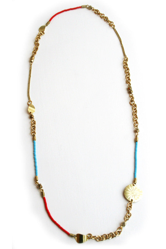 Handmade Brass Maasai Bead Thika Necklace