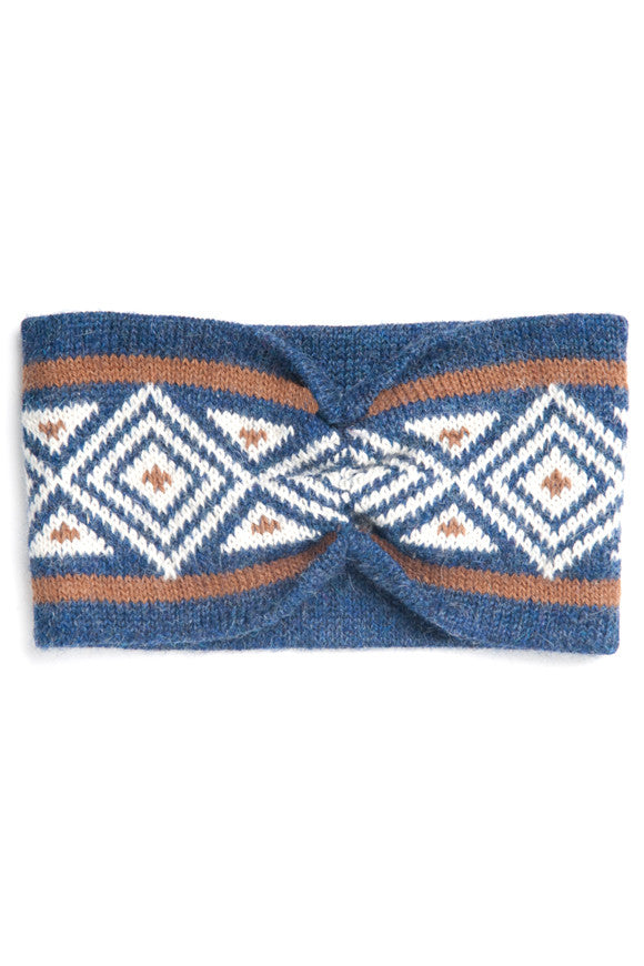 Ethical Alpaca Knit Zoe Headband Blue