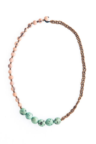 Ethical Graciella Necklace Gray + Seafoam