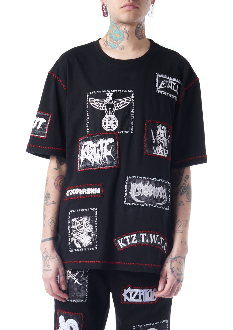 multi-patch unisex T-shirt