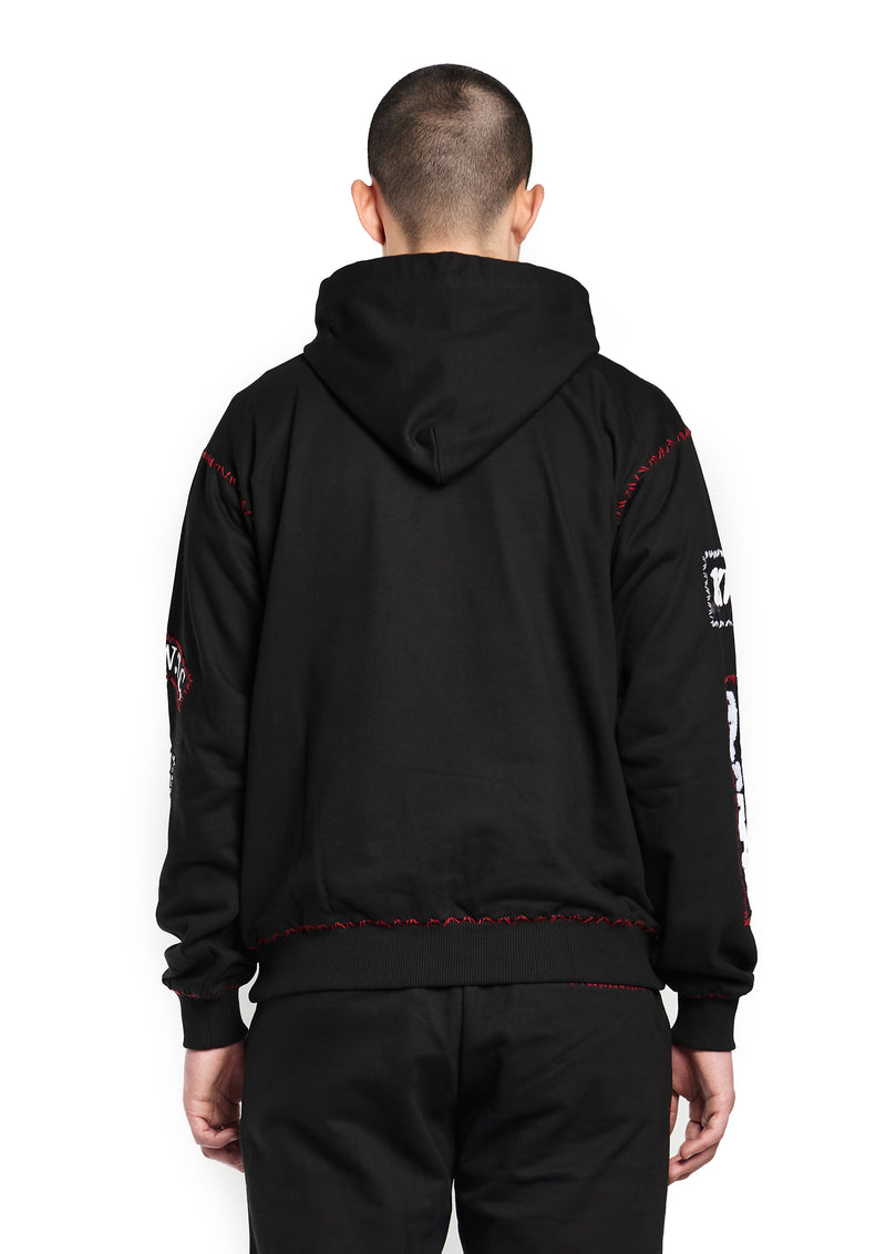 Patch-detailed drawstring hoodie