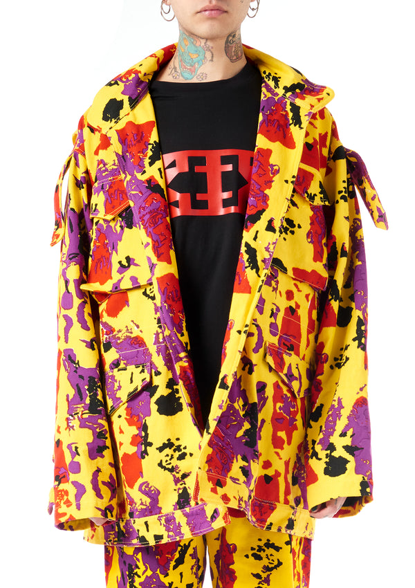 KTZ Archive Yellow Camo Round Denim Jacket