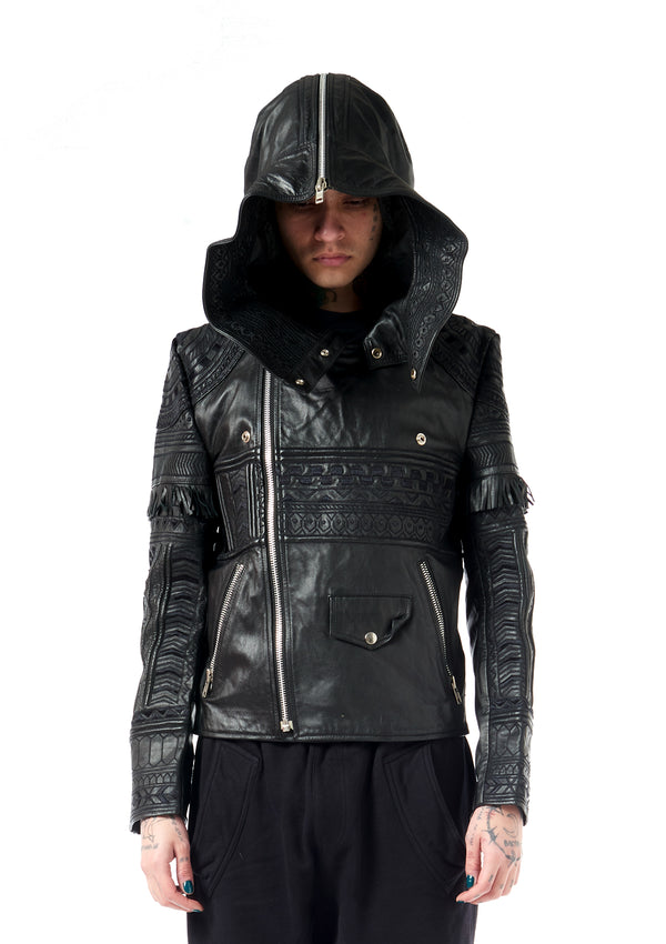 KTZ ARCHIVE EMBROIDERED LEATHER JACKER