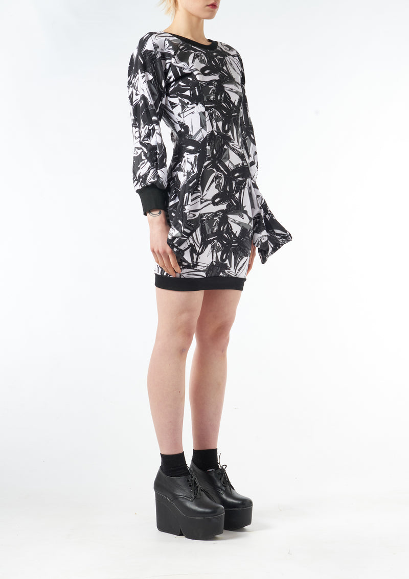 Dress With 3D Pockets Black poodle Print