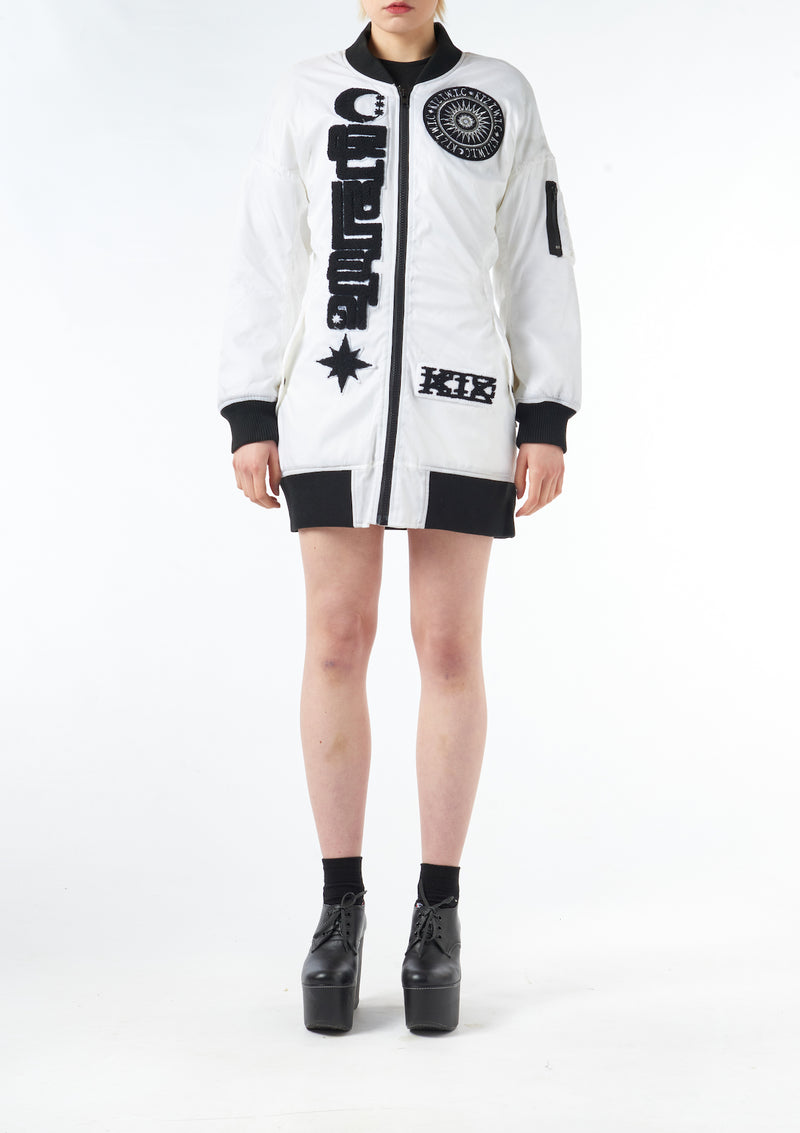 Towelling Patches Dress Bomber Jacket