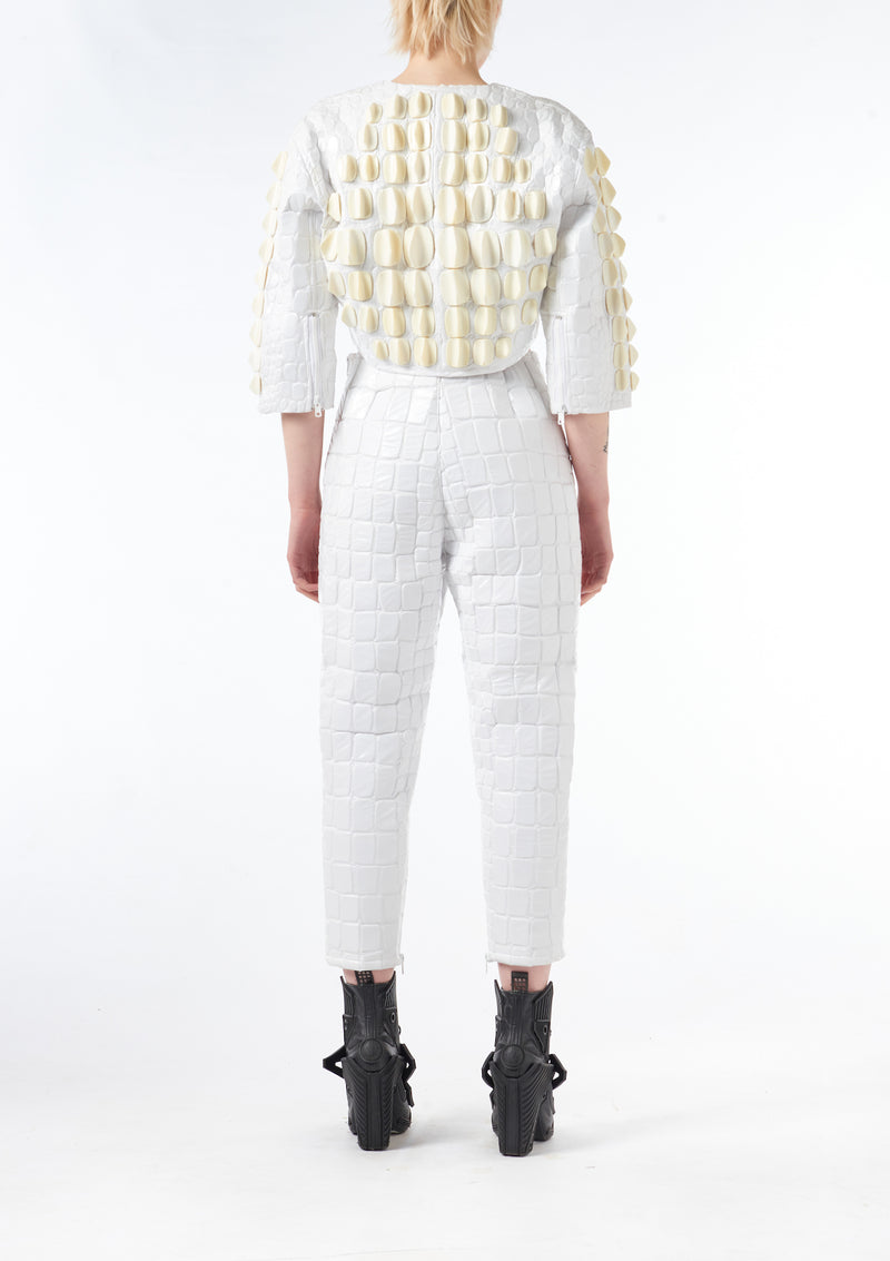 Scale Embroidery High Waisted Trousers