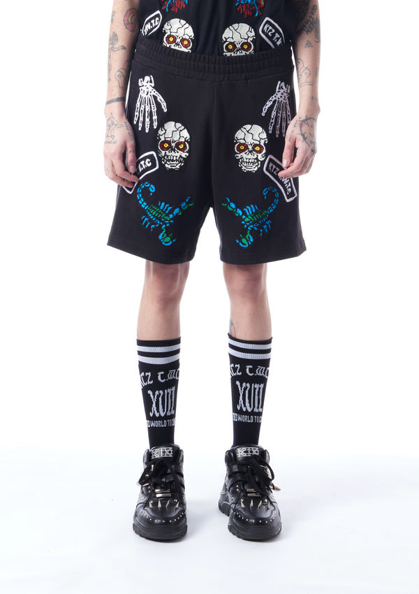 Monster embroidered shorts