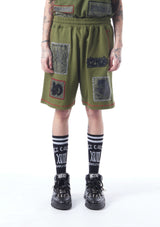 patch-detailed track shorts