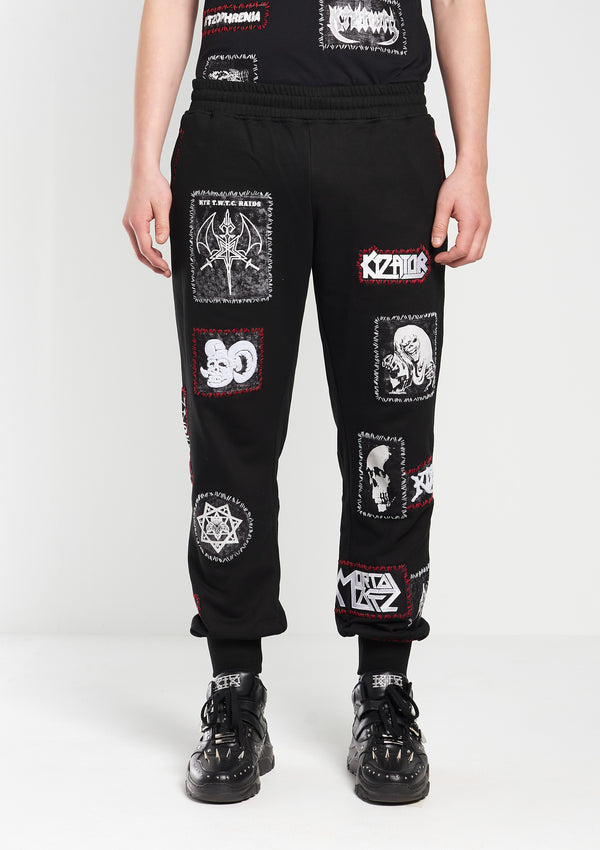 Patch-Detailed Embroidered Track Pants