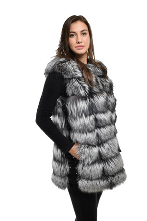 Gilet in volpe argentata naturale