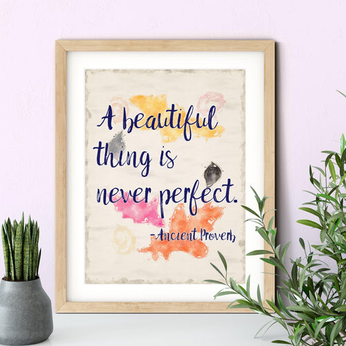 A Beautiful Thing is Never Perfect Inspirational Botanical Watercolor Quote Art Print-Art Print-Lena Cox Studio