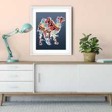 Load image into Gallery viewer, Abstract Colorful Baby Camel Illustration Blue Wall Art Print-Art Print-Lena Cox Studio
