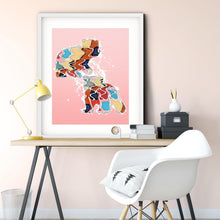 Load image into Gallery viewer, Abstract Colorful Bear Cubs Illustration Blush Pink Wall Art Print-Art Print-Lena Cox Studio