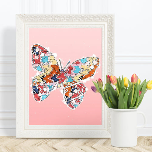 Abstract Colorful Butterfly Illustration Pink Wall Art Print-Art Print-Lena Cox Studio