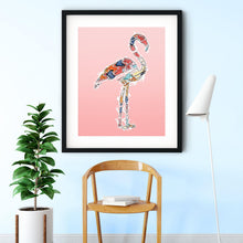 Load image into Gallery viewer, Abstract Colorful Flamingo Illustration Blush Pink Wall Art Print-Art Print-Lena Cox Studio