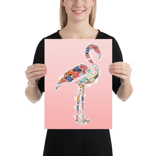 Abstract Colorful Flamingo Illustration Blush Pink Wall Art Print-Art Print-Lena Cox Studio