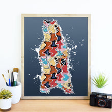 Load image into Gallery viewer, Abstract Colorful Grizzly Papa Bear Illustration Blue Wall Art Print-Art Print-Lena Cox Studio