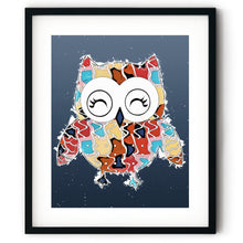 Load image into Gallery viewer, Abstract Colorful Owl Pop Art Cartoon Illustration Blue Wall Art Print-Art Print-Lena Cox Studio