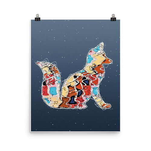 Abstract Colorful Woodland Fox Illustration Blue Wall Art Print-Art Print-Lena Cox Studio