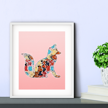 Load image into Gallery viewer, Abstract Colorful Woodland Fox Illustration Blush Pink Wall Art Print-Art Print-Lena Cox Studio