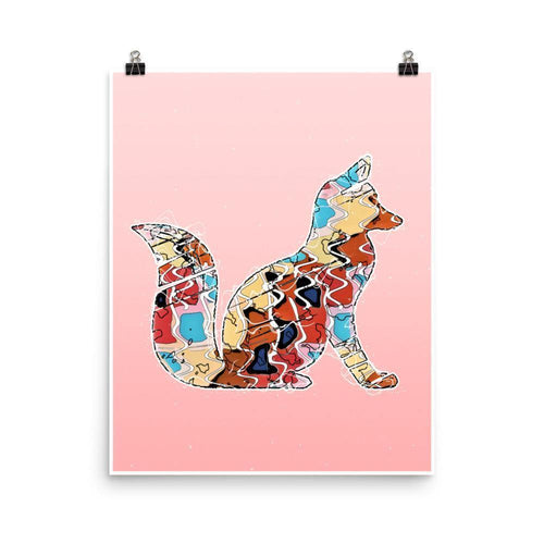 Abstract Colorful Woodland Fox Illustration Blush Pink Wall Art Print-Art Print-Lena Cox Studio