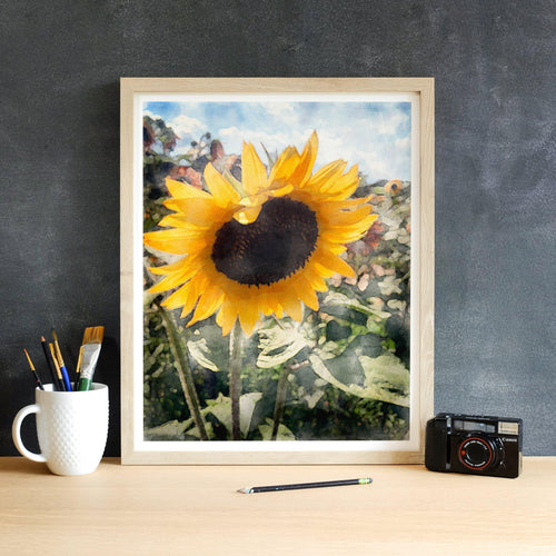 Boho Watercolor Sunflower in a Field with Blue Sky Art Print-Art Print-Lena Cox Studio