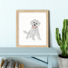 Load image into Gallery viewer, Labradoodle Dog Doodle Illustration Gray and White Wall Art Print-Art Print-Lena Cox Studio