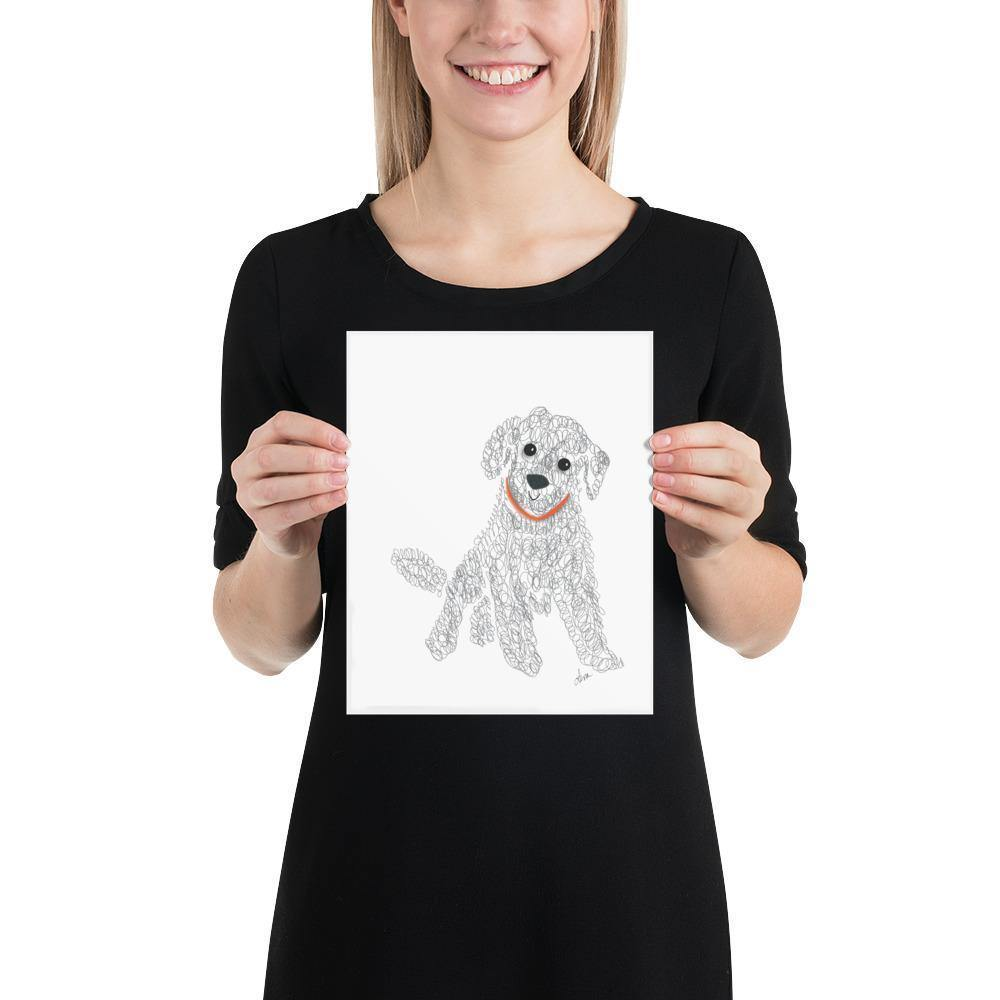 Labradoodle Dog Doodle Illustration Gray and White Wall Art Print-Art Print-Lena Cox Studio