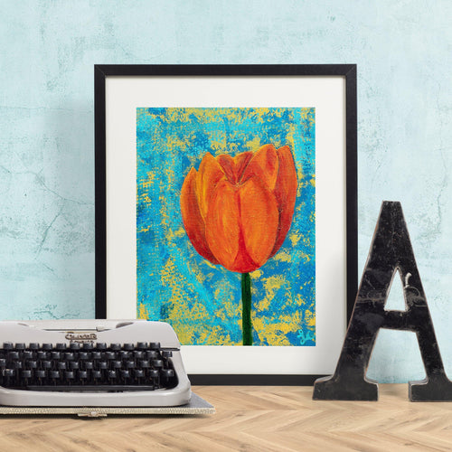 Orange Tulip on Abstract Blue and Gold Background Giclée Art Print-Art Print-Lena Cox Studio