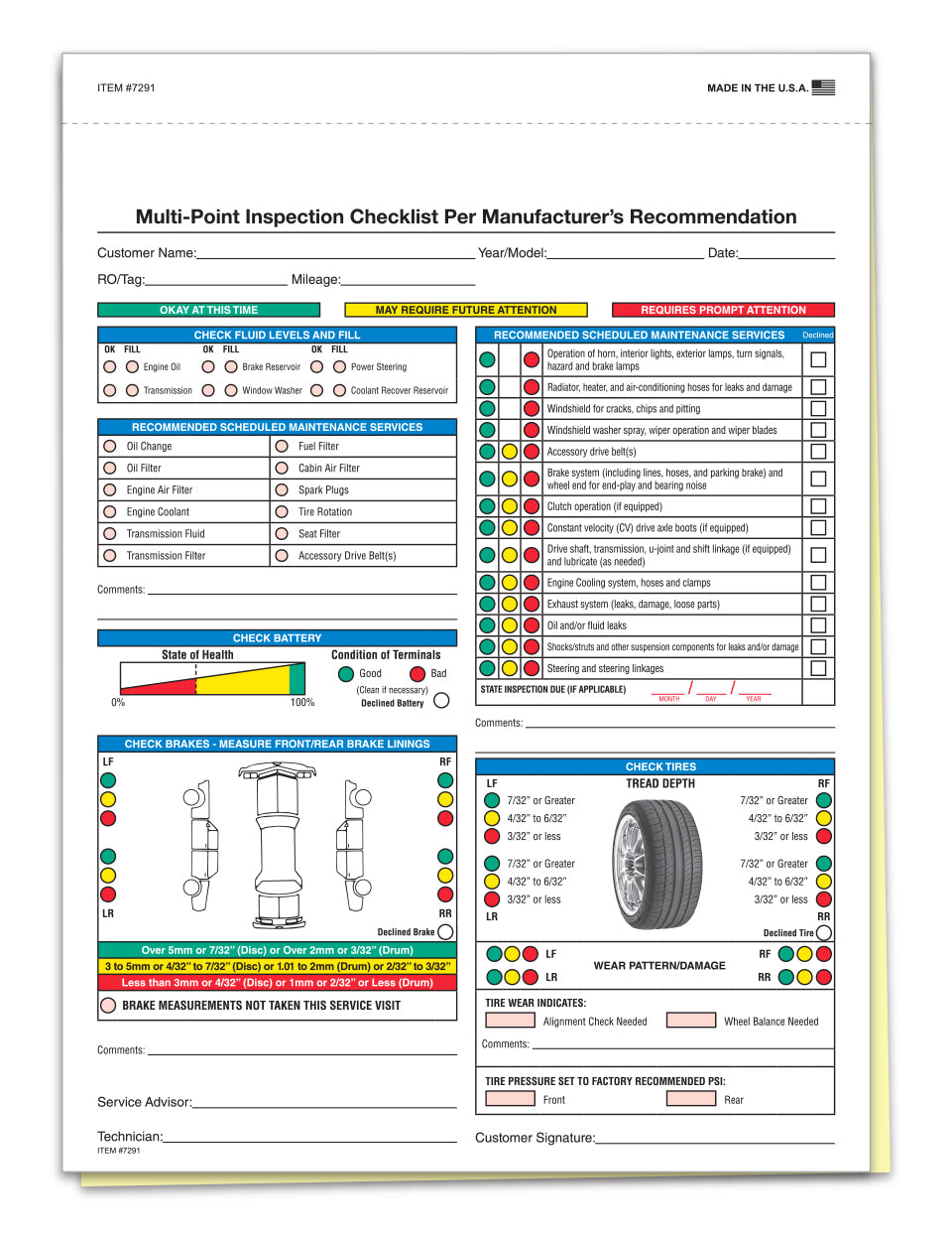 Multi-Point Inspection Forms, 2-Part, Plain
