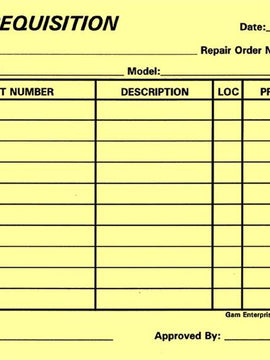 Parts Requisition - Yellow Form