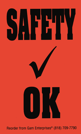 """Safety Check OK"" Window Sticker"