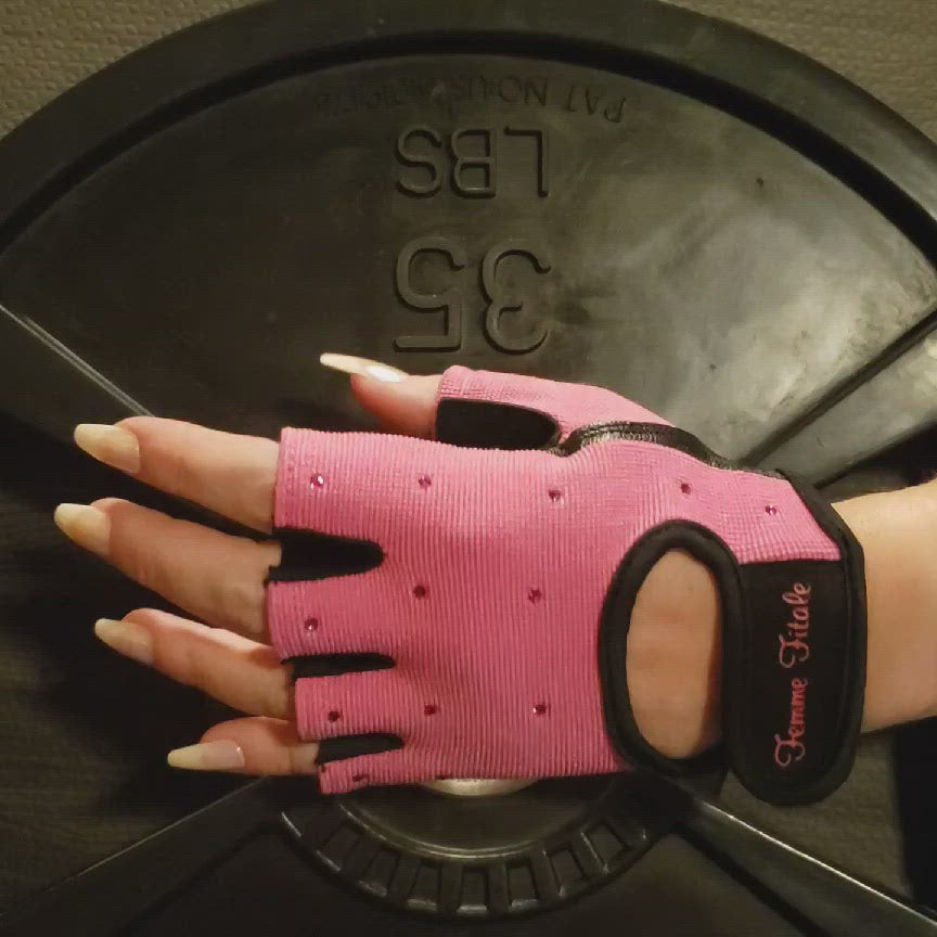 Load and play video in Gallery viewer, Hot Pink Swarovski Crystal Embellished Fitness Gloves
