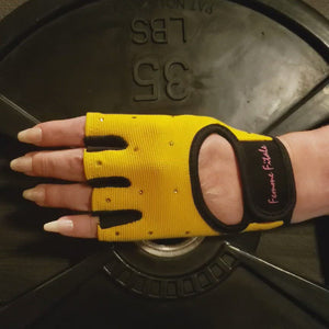 Load and play video in Gallery viewer, Yellow Swarovski Crystal Embellished Fitness Gloves