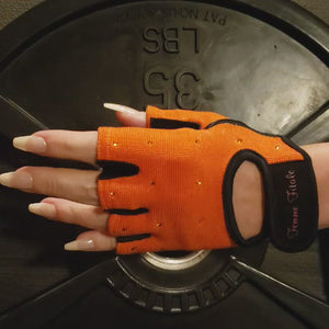 Load and play video in Gallery viewer, Orange Swarovski Crystal Embellished Fitness Gloves