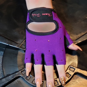 Load image into Gallery viewer, Purple Swarovski Crystal Embellished Fitness Gloves
