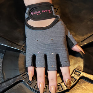 Load image into Gallery viewer, Steel Gray Swarovski Crystal Embellished Fitness Gloves