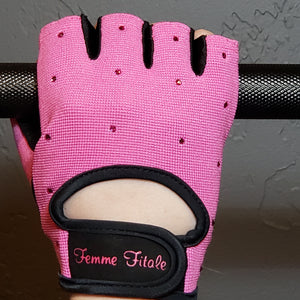Load image into Gallery viewer, Hot Pink Swarovski Crystal Embellished Fitness Gloves