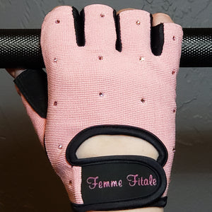 Load image into Gallery viewer, Light Pink Swarovski Crystal Embellished Fitness Gloves
