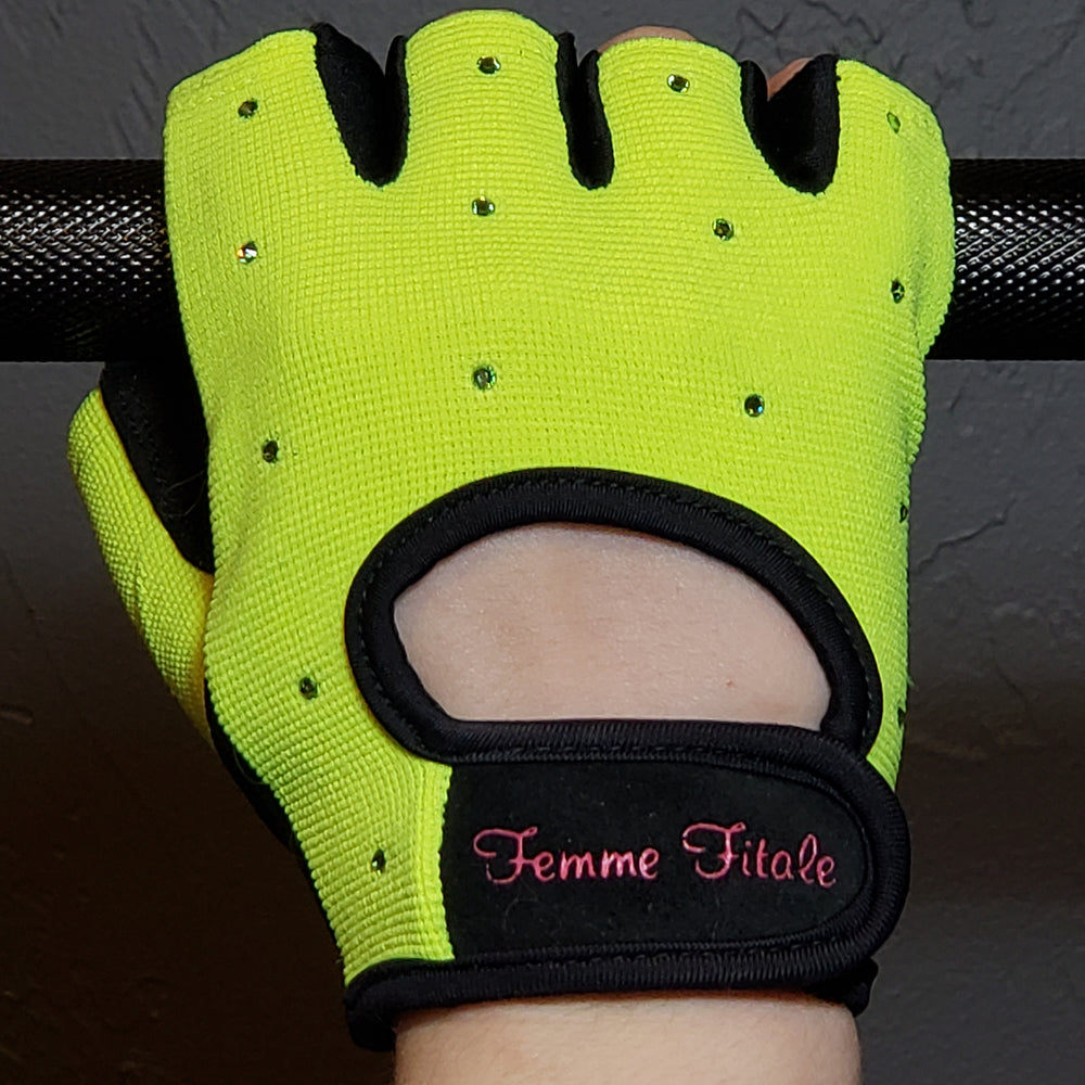 Fluorescent Green Swarovski Crystal Embellished Fitness Gloves