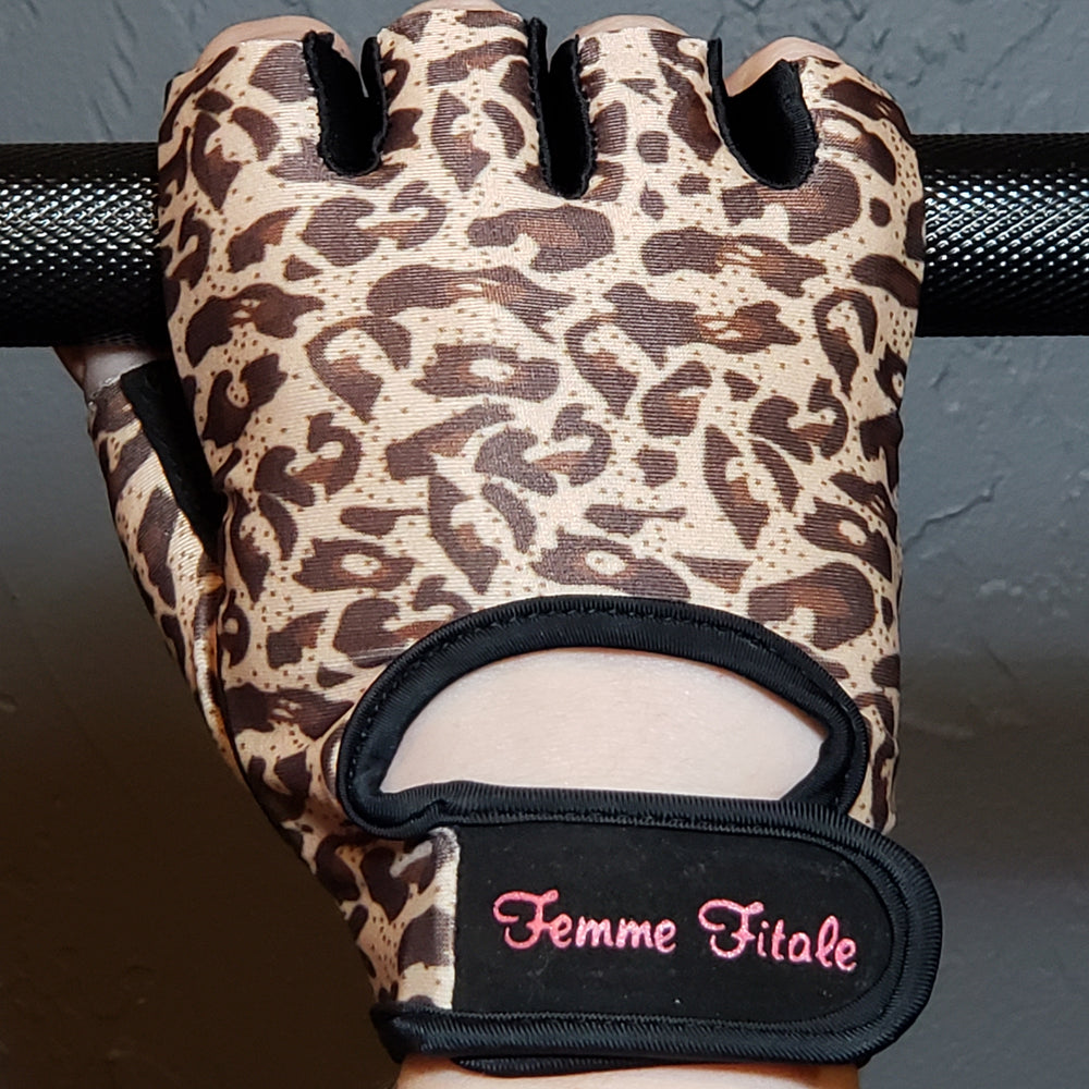 Leopard Print Fitness Gloves - No Crystals