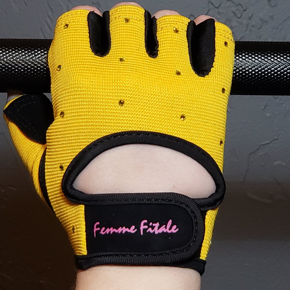 Yellow Swarovski Crystal Embellished Fitness Gloves