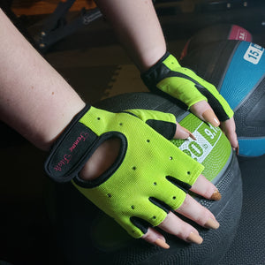 Load image into Gallery viewer, Fluorescent Green Swarovski Crystal Embellished Fitness Gloves