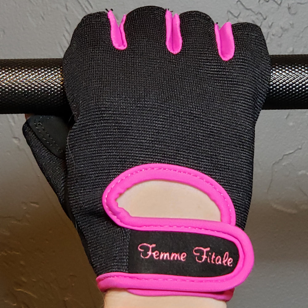 Black Fitness Gloves With Fuchsia Accents - No Crystals