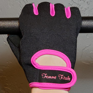 Load image into Gallery viewer, Black Fitness Gloves With Fuchsia Accents - No Crystals
