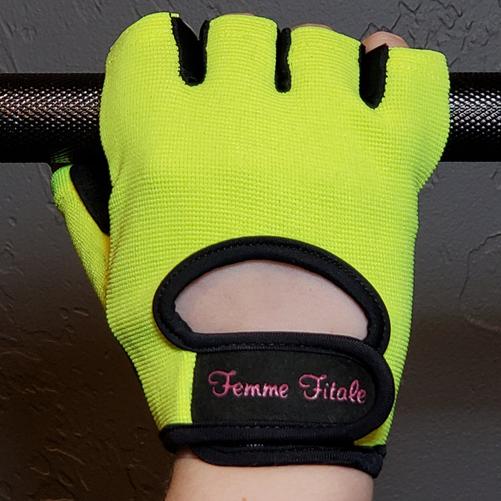 Fluorescent Green Fitness Gloves - No Crystals