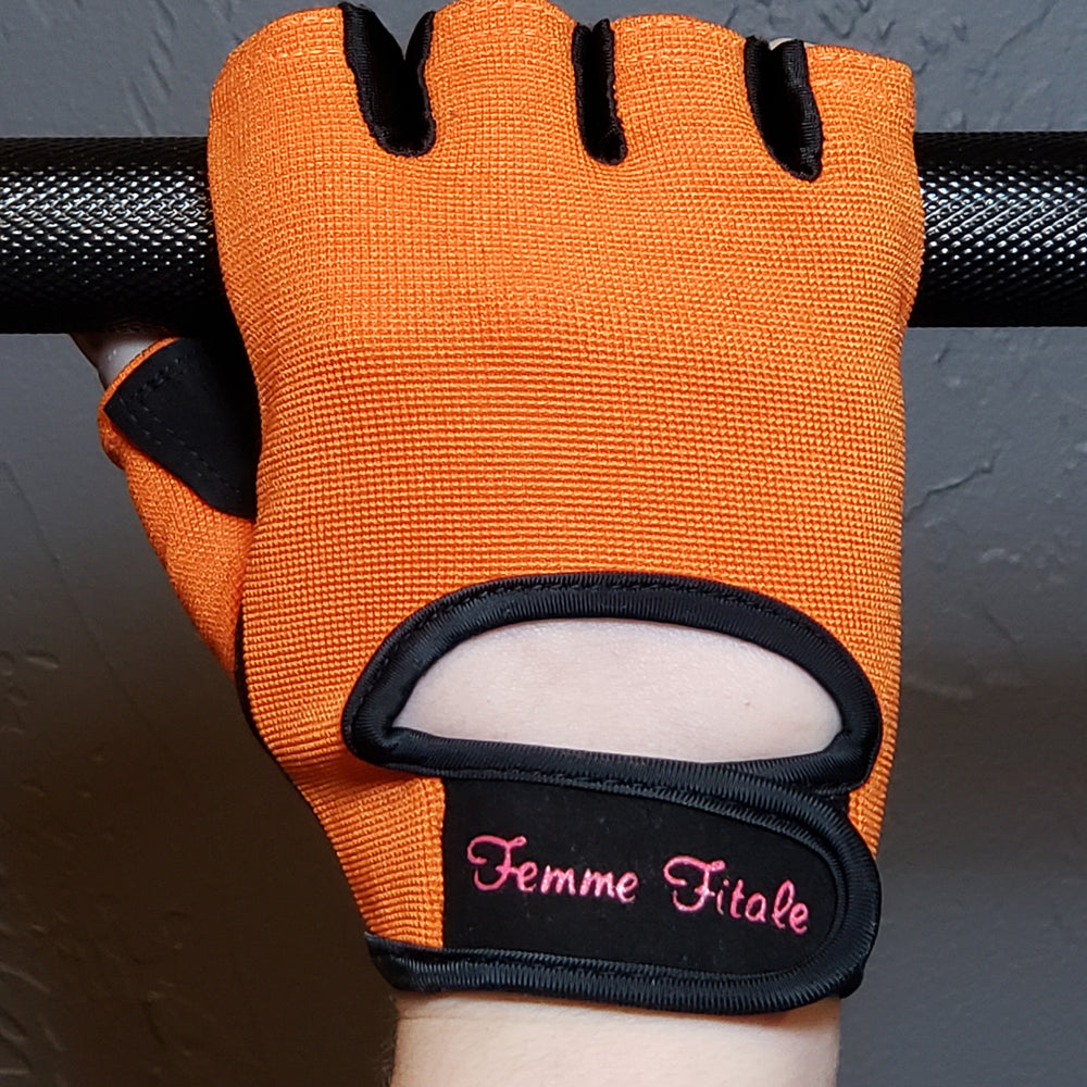 Orange Fitness Gloves - No Crystals