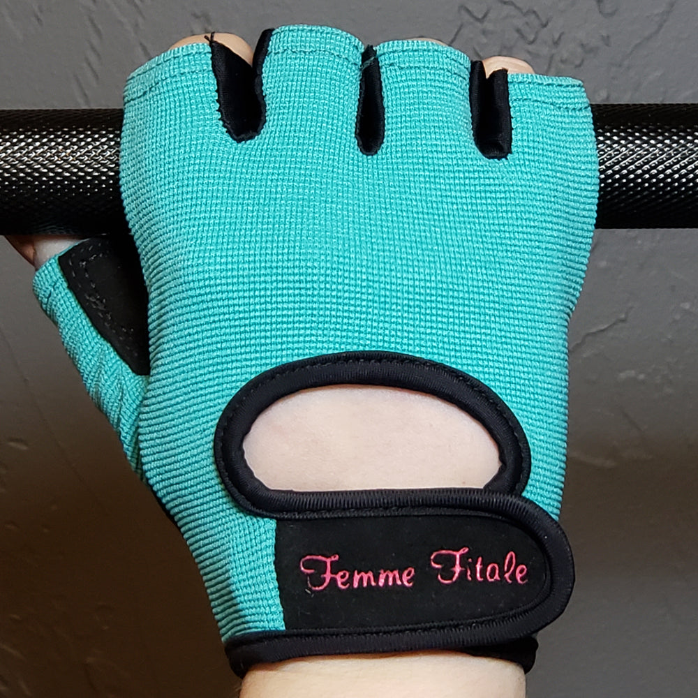 Turquoise Blue Fitness Gloves - No Crystals